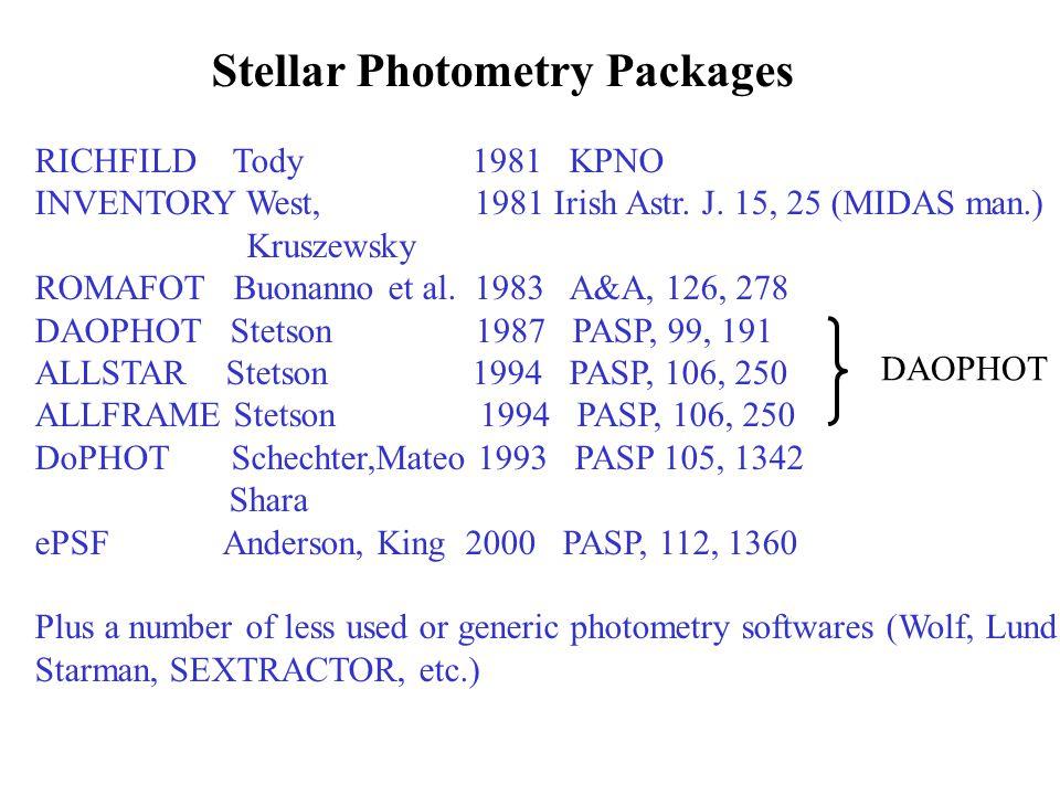 Stellar Photometry Packages RICHFILD Tody 1981 KPNO INVENTORY West, 1981 Irish Astr.