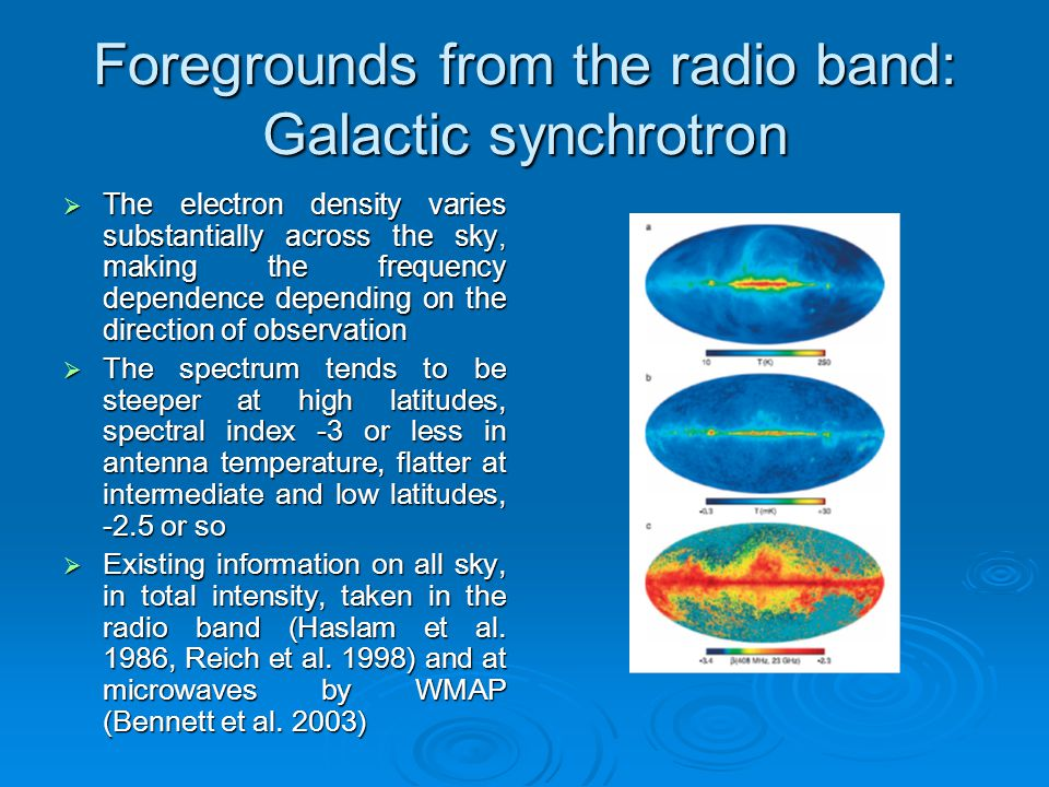 Foregrounds from the radio band: Galactic synchrotron  The electron density varies substantially across the sky, making the frequency dependence depe