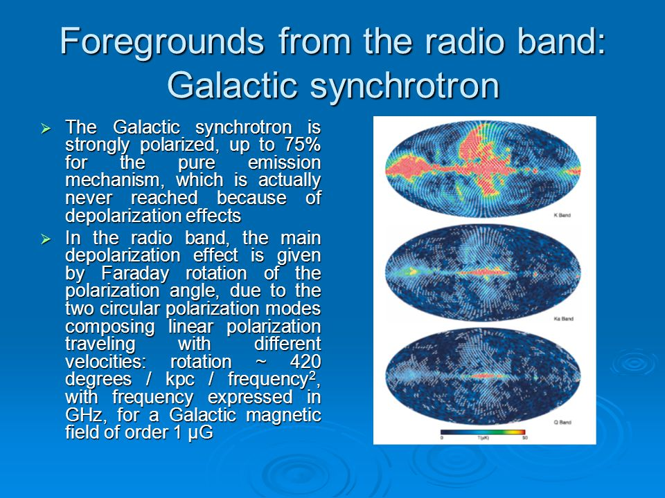 Foregrounds from the radio band: Galactic synchrotron  The Galactic synchrotron is strongly polarized, up to 75% for the pure emission mechanism, whi