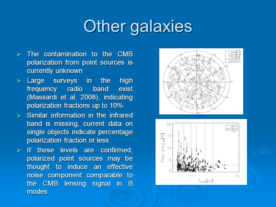Other galaxies  The contamination to the CMB polarization from point sources is currently unknown  Large surveys in the high frequency radio band ex
