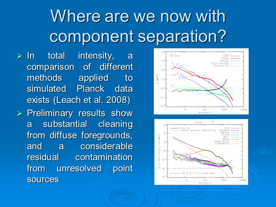 Where are we now with component separation?  In total intensity, a comparison of different methods applied to simulated Planck data exists (Leach et