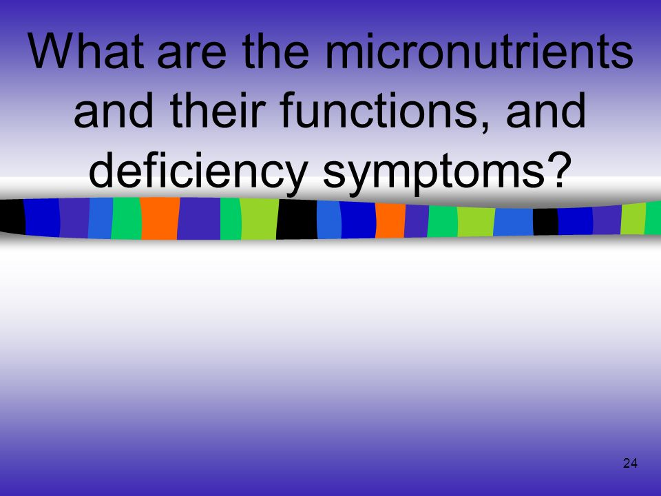 24 What are the micronutrients and their functions, and deficiency symptoms