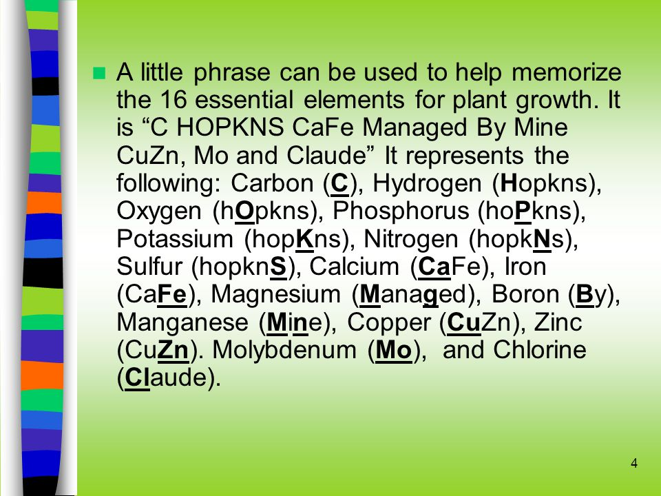 4 A little phrase can be used to help memorize the 16 essential elements for plant growth.