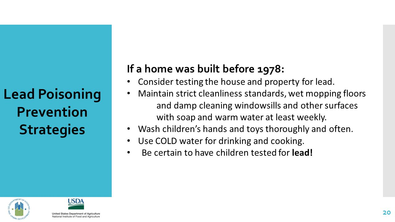 20 Lead Poisoning Prevention Strategies If a home was built before 1978: Consider testing the house and property for lead.
