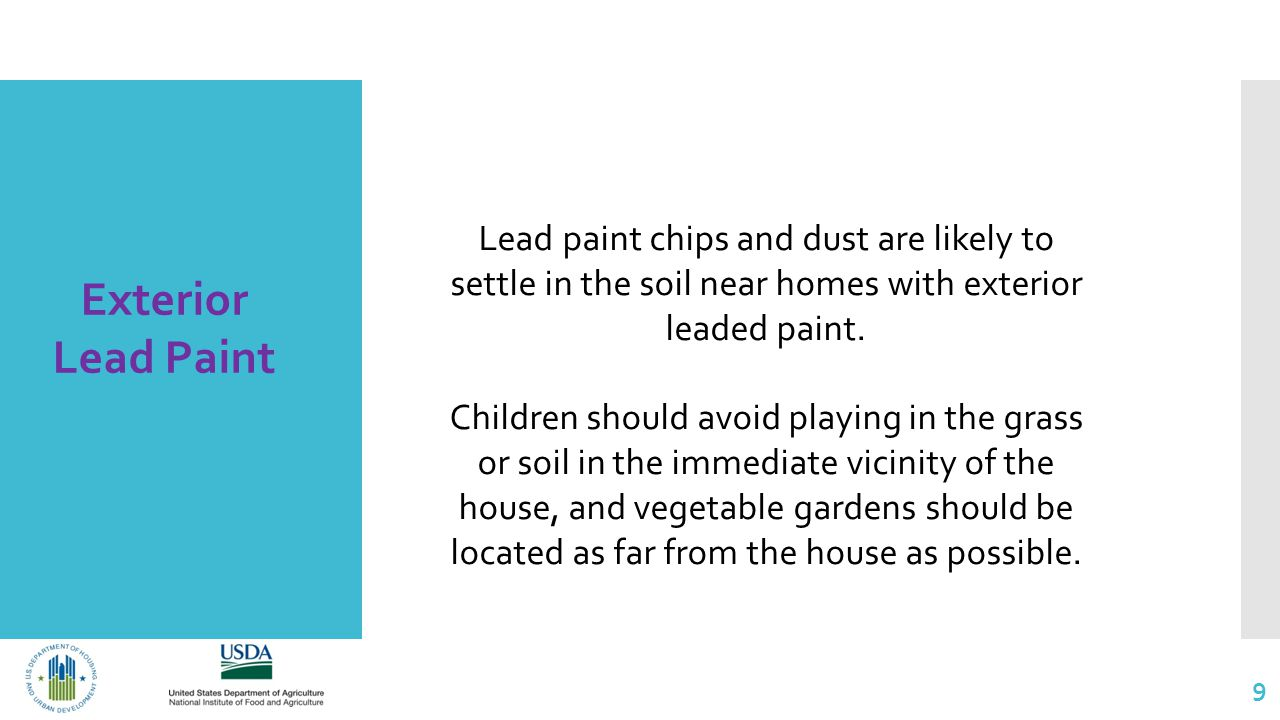 9 Exterior Lead Paint Lead paint chips and dust are likely to settle in the soil near homes with exterior leaded paint.