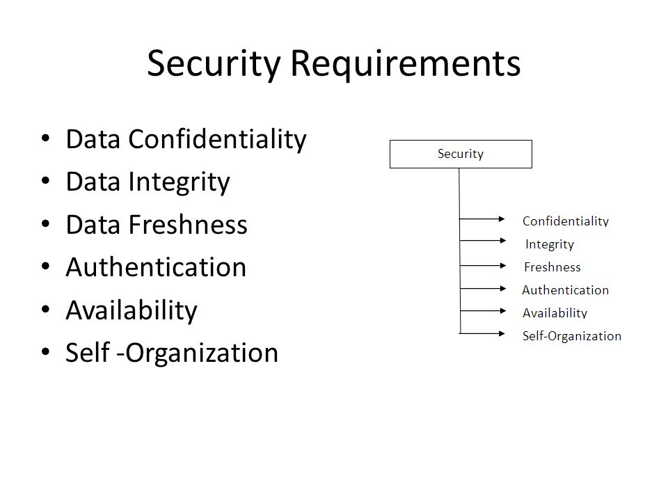 Security Requirements Data Confidentiality Data Integrity Data Freshness Authentication Availability Self -Organization