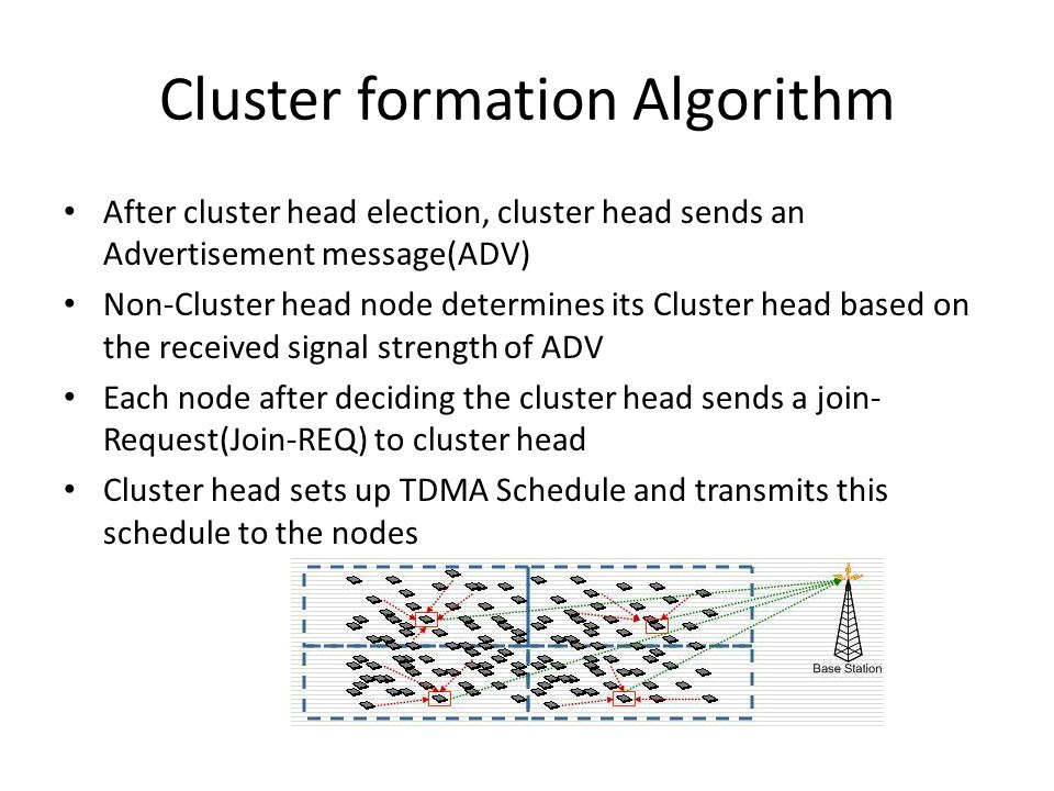 Cluster formation Algorithm After cluster head election, cluster head sends an Advertisement message(ADV) Non-Cluster head node determines its Cluster head based on the received signal strength of ADV Each node after deciding the cluster head sends a join- Request(Join-REQ) to cluster head Cluster head sets up TDMA Schedule and transmits this schedule to the nodes