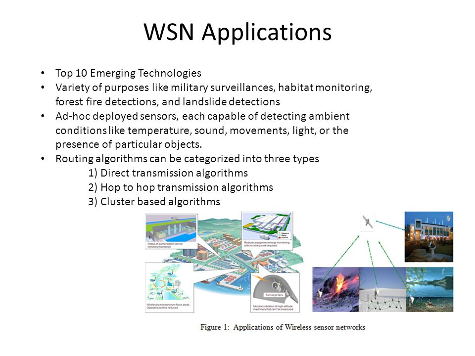 WSN Applications Top 10 Emerging Technologies Variety of purposes like military surveillances, habitat monitoring, forest fire detections, and landslide detections Ad-hoc deployed sensors, each capable of detecting ambient conditions like temperature, sound, movements, light, or the presence of particular objects.
