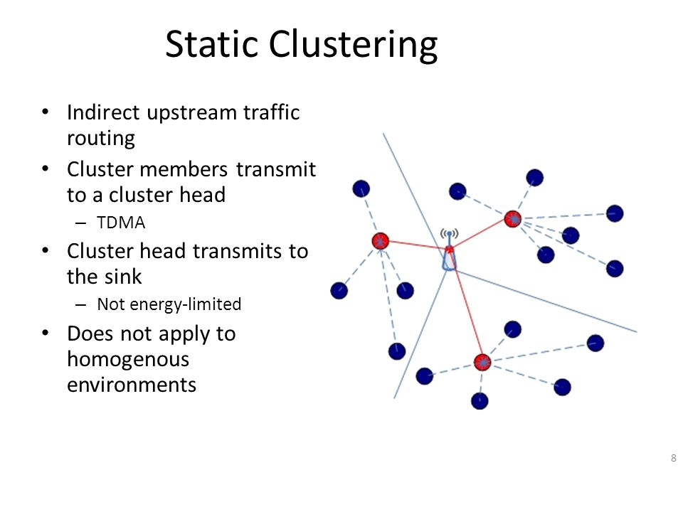 Static Clustering Indirect upstream traffic routing Cluster members transmit to a cluster head – TDMA Cluster head transmits to the sink – Not energy-limited Does not apply to homogenous environments 8