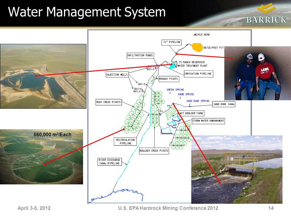 April 3-5, 2012U.S. EPA Hardrock Mining Conference 2012 Water Management System 560,000 m 2 /Each 14