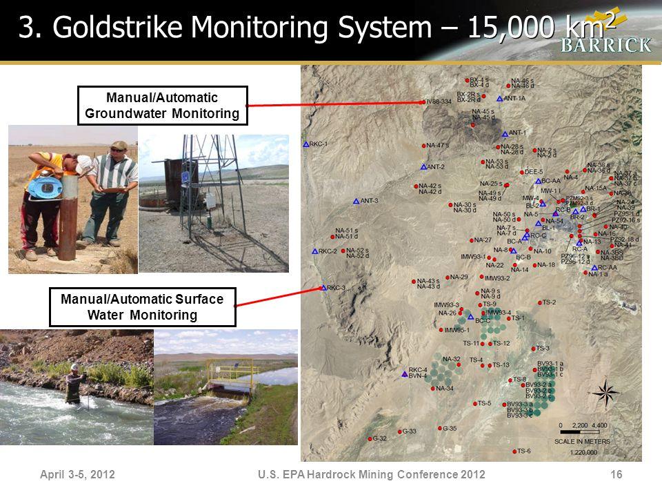 April 3-5, 2012U.S. EPA Hardrock Mining Conference 2012 3. Goldstrike Monitoring System – 15,000 km 2 Manual/Automatic Surface Water Monitoring Manual