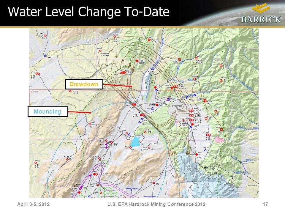 April 3-5, 2012U.S. EPA Hardrock Mining Conference 2012 Water Level Change To-Date Drawdown Mounding 17