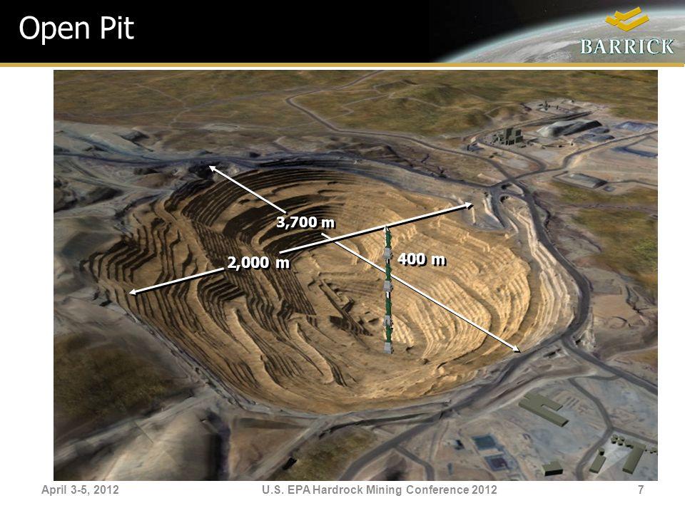 April 3-5, 2012U.S. EPA Hardrock Mining Conference 2012 Open Pit 400 m 3,700 m 2,000 m 7