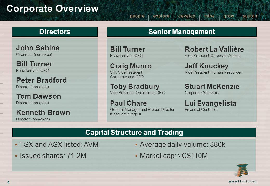 4 Corporate Overview Directors Senior Management Bill Turner President and CEO Robert La Vallière Vice President Corporate Affairs Craig Munro Snr. Vi