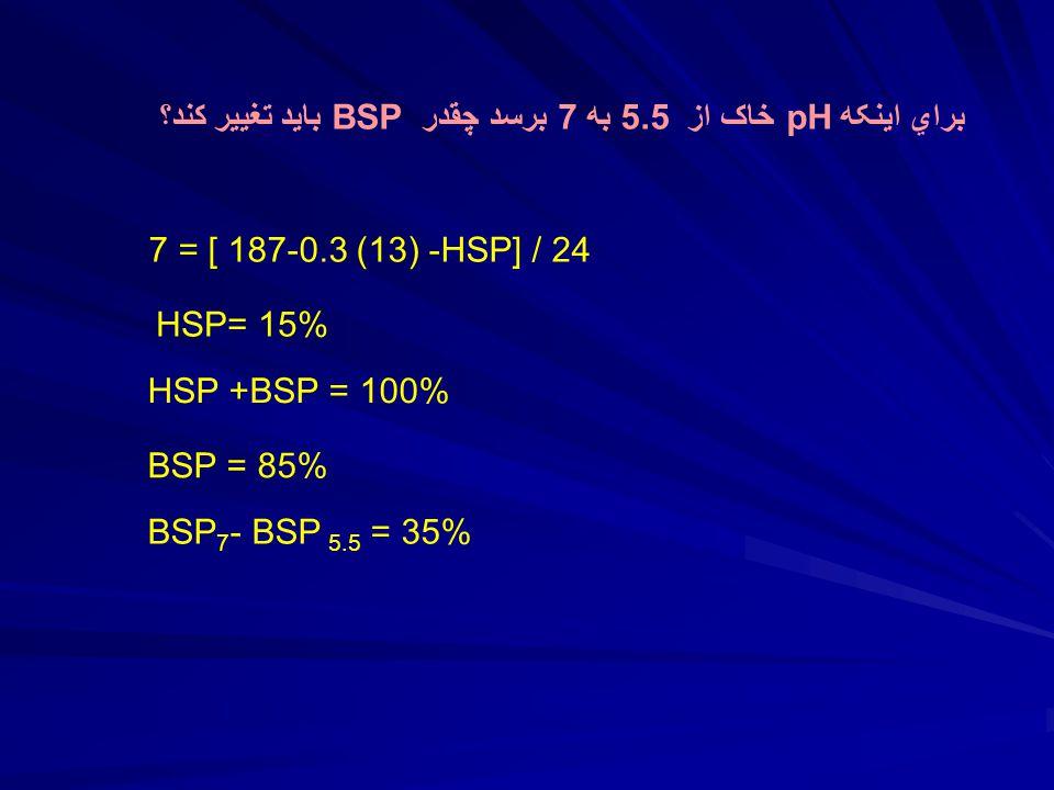 براي اينکه pH خاک از 5.5 به 7 برسد چقدر BSP بايد تغيير کند؟ 7 = [ 187-0.3 (13) -HSP] / 24 HSP= 15% HSP +BSP = 100% BSP = 85% BSP 7 - BSP 5.5 = 35%