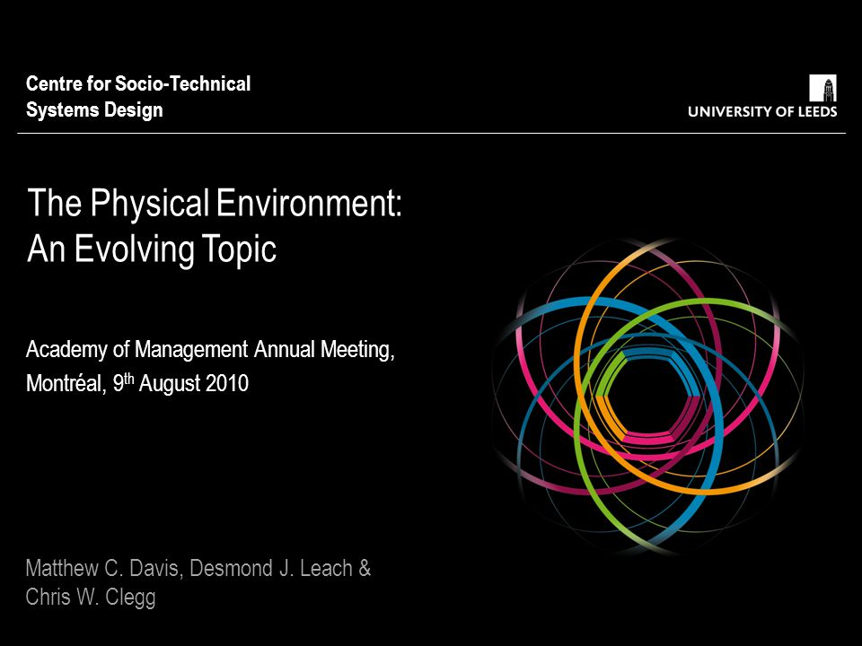 The Physical Environment: An Evolving Topic Academy of Management Annual Meeting, Montréal, 9 th August 2010 Centre for Socio-Technical Systems Design Matthew C.