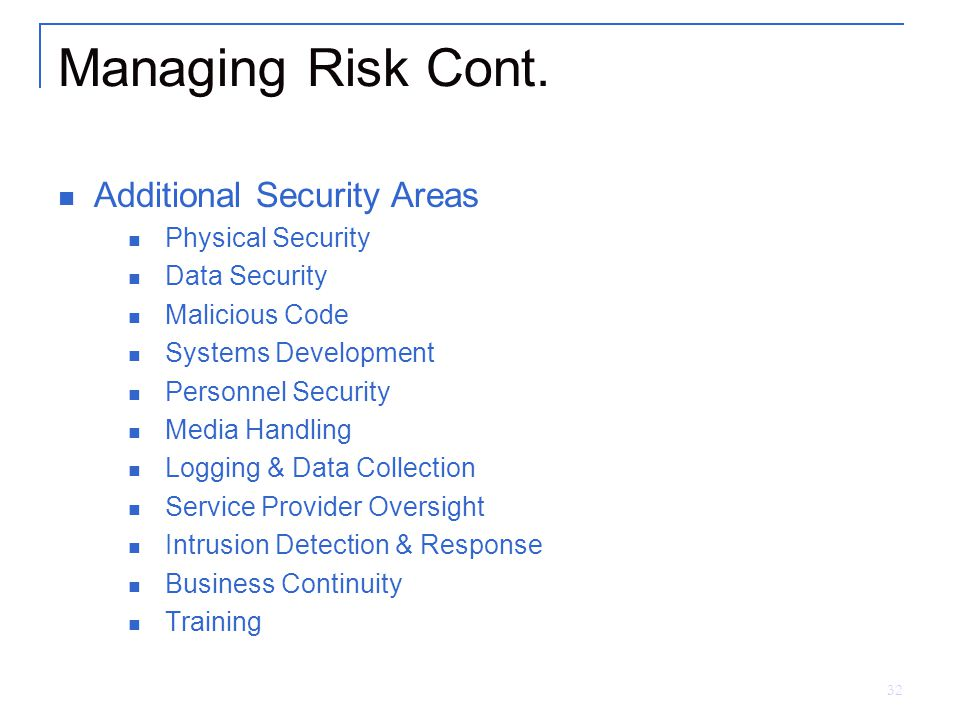 32 Managing Risk Cont.