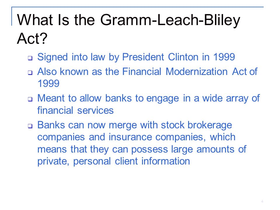 4 What Is the Gramm-Leach-Bliley Act.