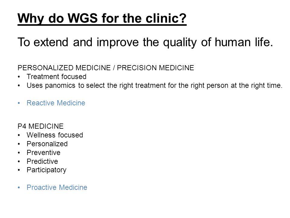 P4 MEDICINE Wellness focused Personalized Preventive Predictive Participatory Proactive Medicine Why do WGS for the clinic.