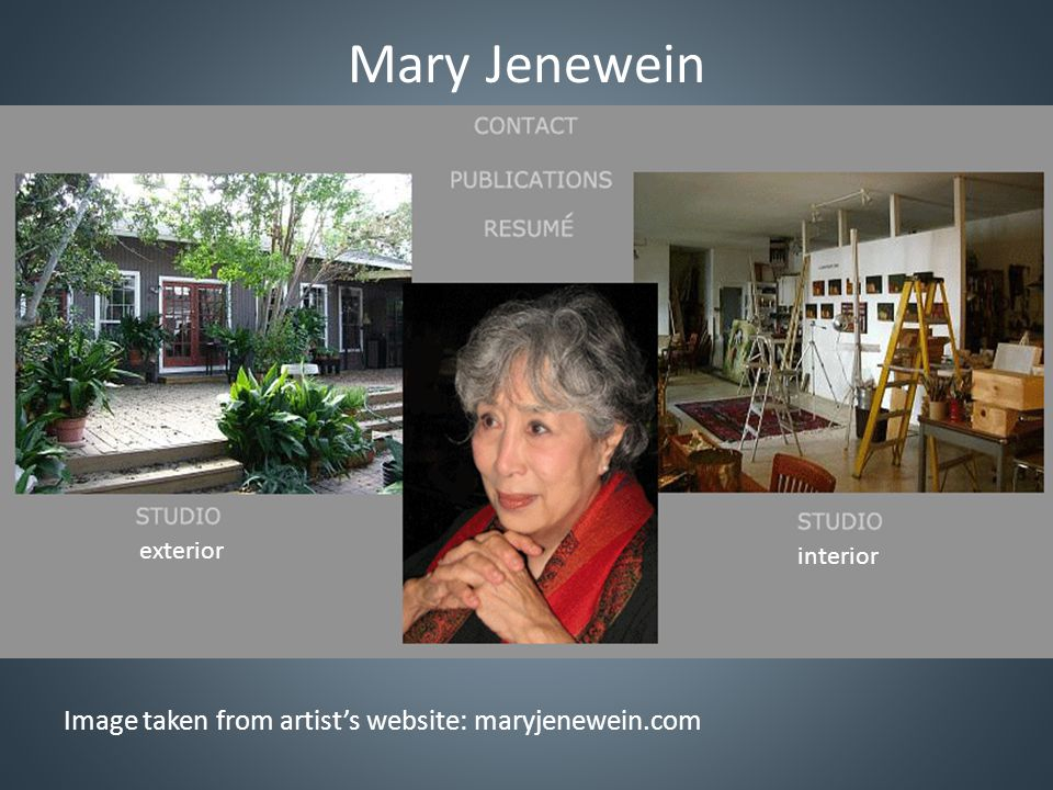 Mary Jenewein Technology & Database Capacity Rating: 3 (scale from 1 to 5) Has computer, but not to comfortable with it; utilizes Picasa; is online at home Relies on computer savvy sister, helped with site and digitization of images Is trying to increase use of computer without becoming easily frustrated Database Jonathan has entered 107 works into Artwork List (all work onsite) Will enter remaining categories beginning next month