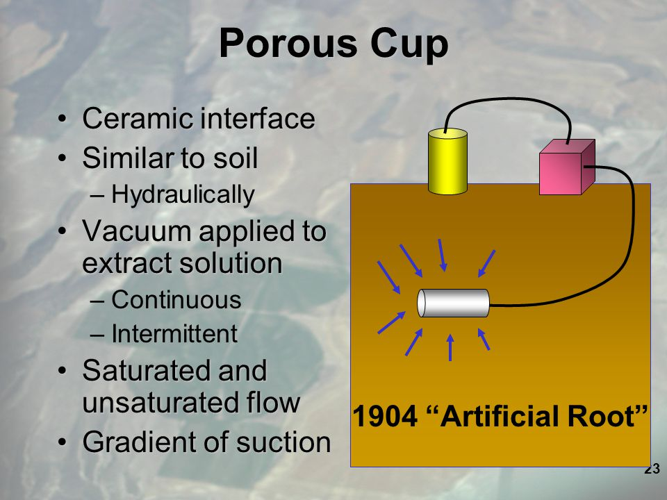 23 Porous Cup Ceramic interfaceCeramic interface Similar to soilSimilar to soil –Hydraulically Vacuum applied to extract solutionVacuum applied to extract solution –Continuous –Intermittent Saturated and unsaturated flowSaturated and unsaturated flow Gradient of suctionGradient of suction 1904 Artificial Root