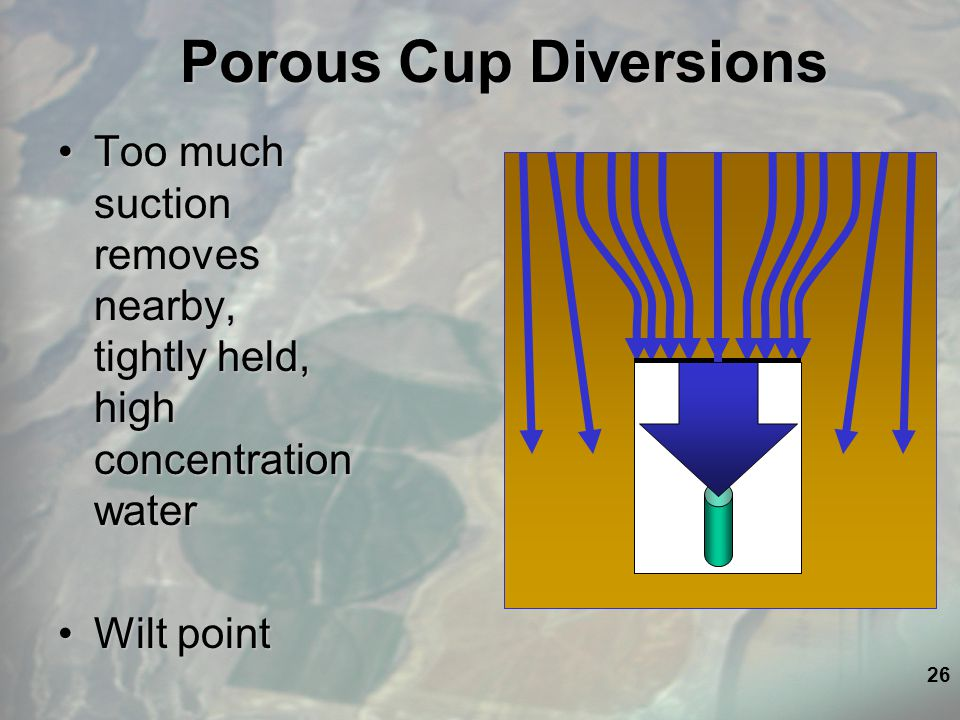 26 Porous Cup Diversions Too much suction removes nearby, tightly held, high concentration waterToo much suction removes nearby, tightly held, high concentration water Wilt pointWilt point
