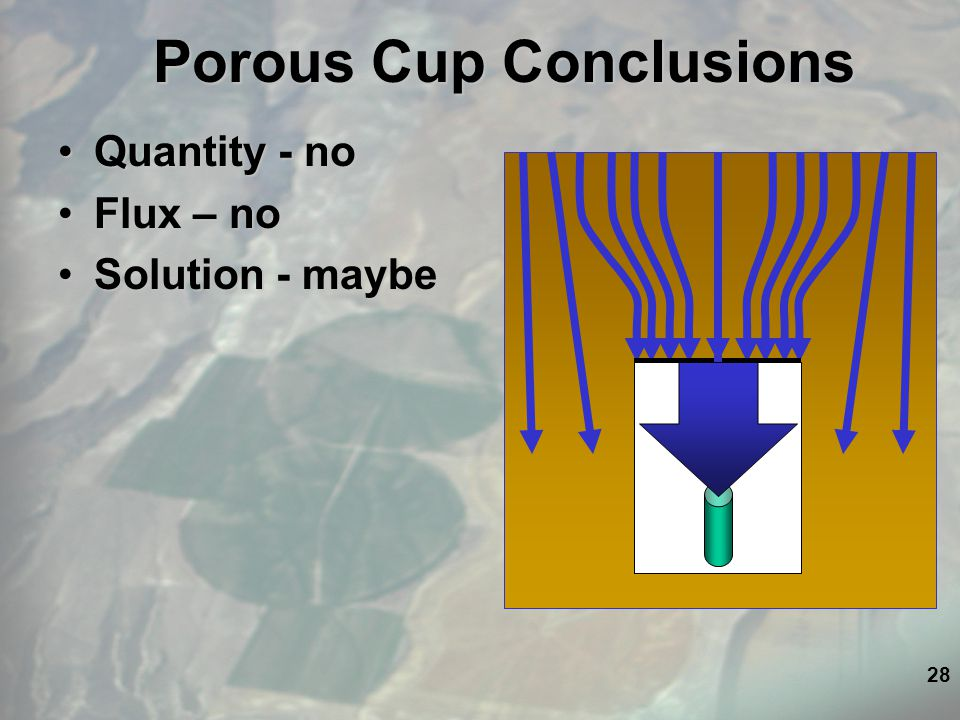 28 Porous Cup Conclusions Quantity - noQuantity - no Flux – noFlux – no Solution - maybeSolution - maybe