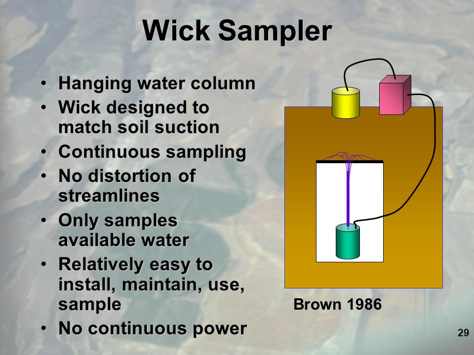 29 Wick Sampler Hanging water columnHanging water column Wick designed to match soil suctionWick designed to match soil suction Continuous samplingContinuous sampling No distortion of streamlinesNo distortion of streamlines Only samples available waterOnly samples available water Relatively easy to install, maintain, use, sampleRelatively easy to install, maintain, use, sample No continuous powerNo continuous power Brown 1986