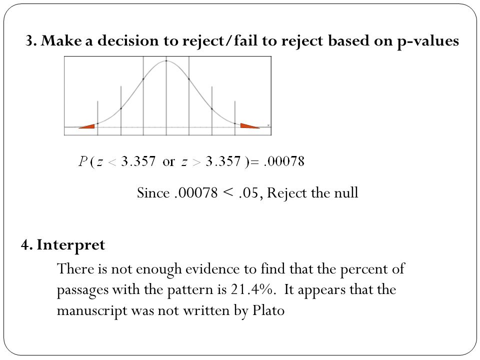 3. Make a decision to reject/fail to reject based on p-values Since.00078 <.05, Reject the null 4. Interpret There is not enough evidence to find that