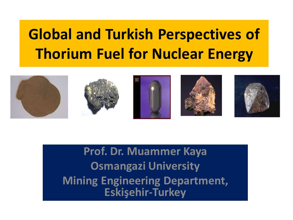 THORIUM CONCENTRATION STUDIES BEDRI IPEKOGLU (Ph.D Thesis, 1983) SİVRİHİSAR-ESKISEHIR ORE GRAVITY CONCENTRATION MAGNETIC CONCENTRATION FLOTATION ACID LEACHING Optimum Conditions: HCl dosage: 200kg/t Leaching Time: 3 hours Th Grade: %99 ACID TOREX PROCESS ThO 2 recovery from used (U 233 /Th) fuel Hot acid leach (13M HNO 3, 0.05M HF, 0.1M Al nitrat at boiling temperature) Centrifuging Solid residue Th(NO 3 ) 4 + UO 2 (NO 3 ) 2 Solution SX Columns Purification Tributyl phosphate (TBP)