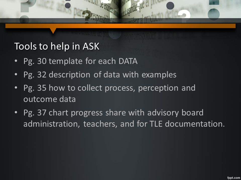 Tools to help in ASK Pg. 30 template for each DATA Pg. 32 description of data with examples Pg. 35 how to collect process, perception and outcome data