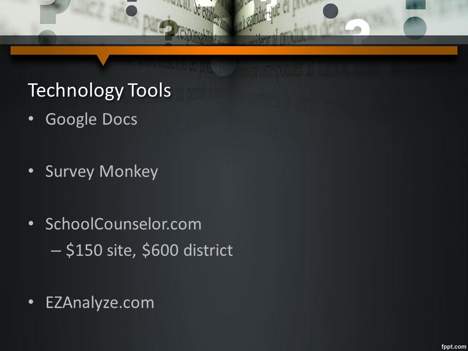 Technology Tools Google Docs Survey Monkey SchoolCounselor.com – $150 site, $600 district EZAnalyze.com