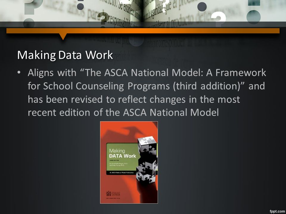 Making Data Work Aligns with The ASCA National Model: A Framework for School Counseling Programs (third addition) and has been revised to reflect changes in the most recent edition of the ASCA National Model
