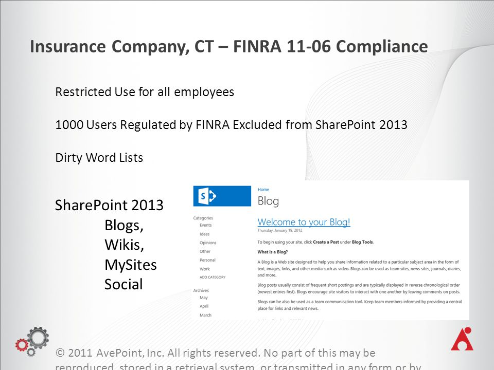 Insurance Company, CT – FINRA 11-06 Compliance © 2011 AvePoint, Inc.