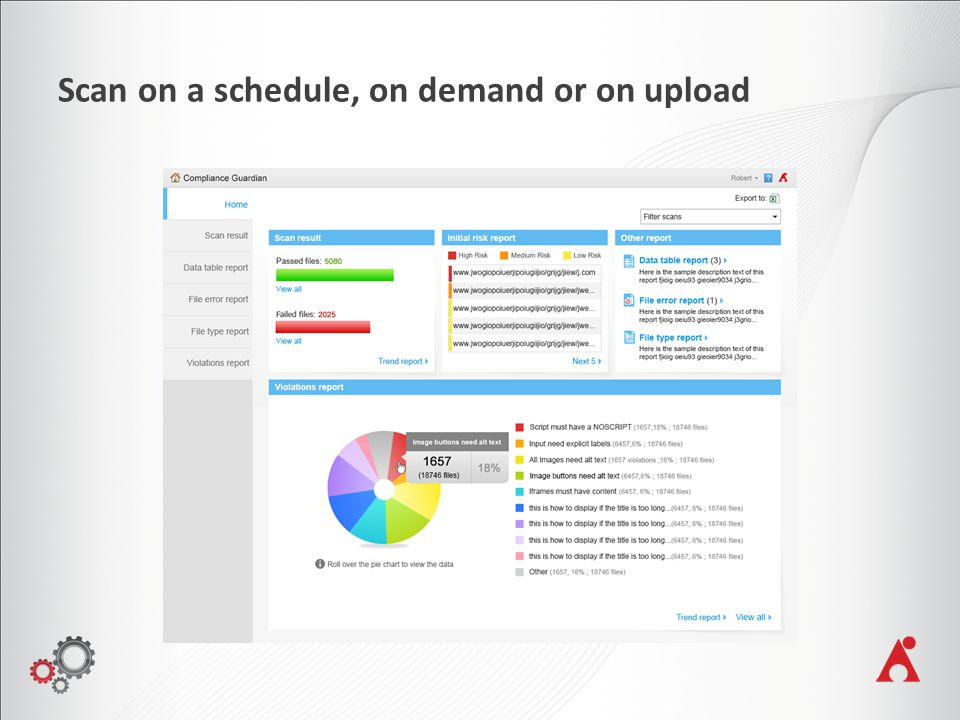Scan on a schedule, on demand or on upload