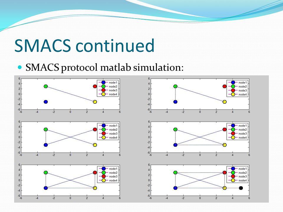 SMACS continued SMACS protocol matlab simulation: