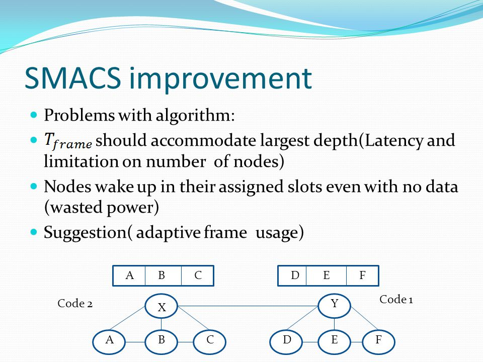 SMACS improvement Problems with algorithm: should accommodate largest depth(Latency and limitation on number of nodes) Nodes wake up in their assigned slots even with no data (wasted power) Suggestion( adaptive frame usage) X Y CBDAFE ACBEDF Code 1 Code 2
