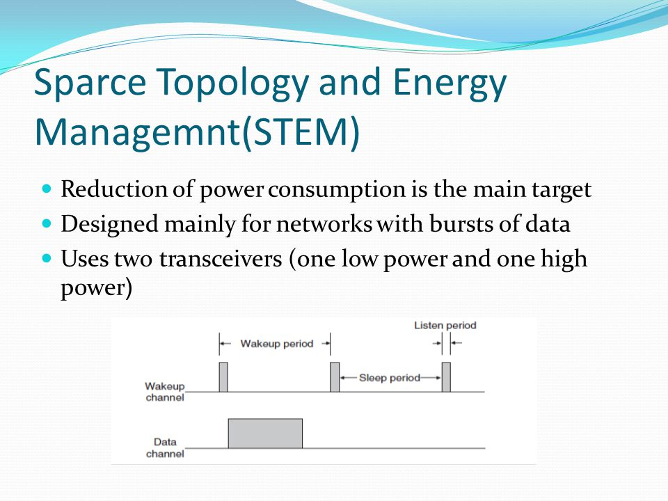 Sparce Topology and Energy Managemnt(STEM) Reduction of power consumption is the main target Designed mainly for networks with bursts of data Uses two transceivers (one low power and one high power(