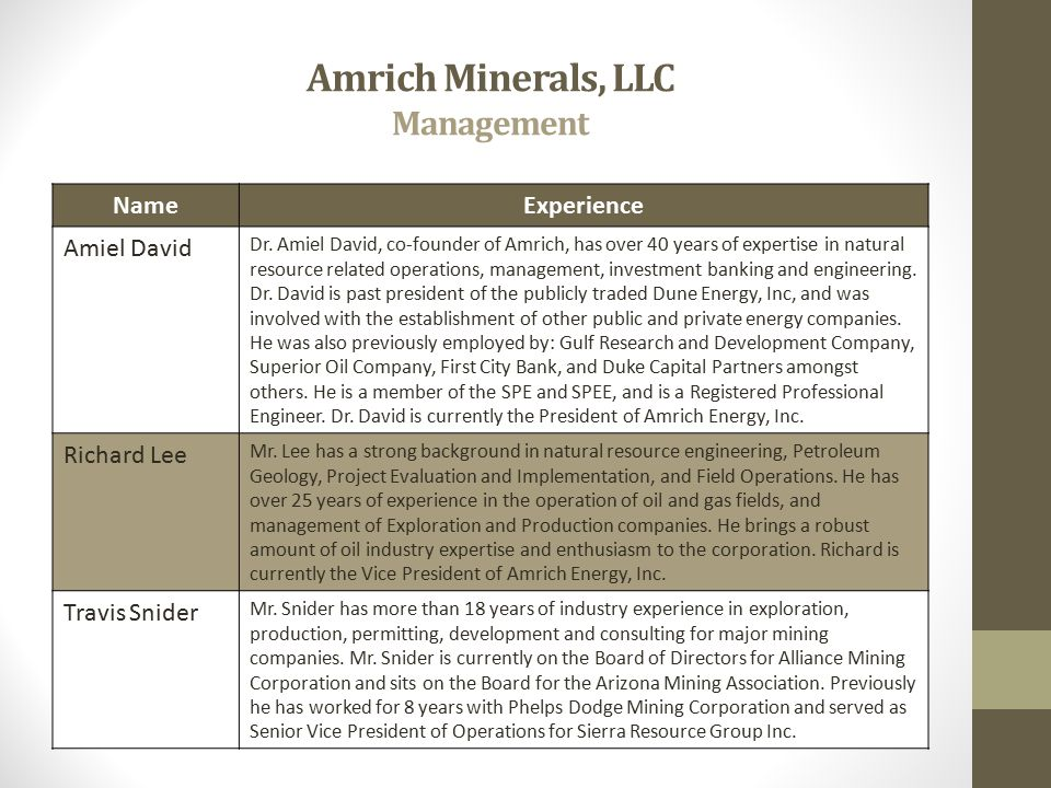 Amrich Minerals, LLC Management NameExperience Amiel David Dr. Amiel David, co-founder of Amrich, has over 40 years of expertise in natural resource r