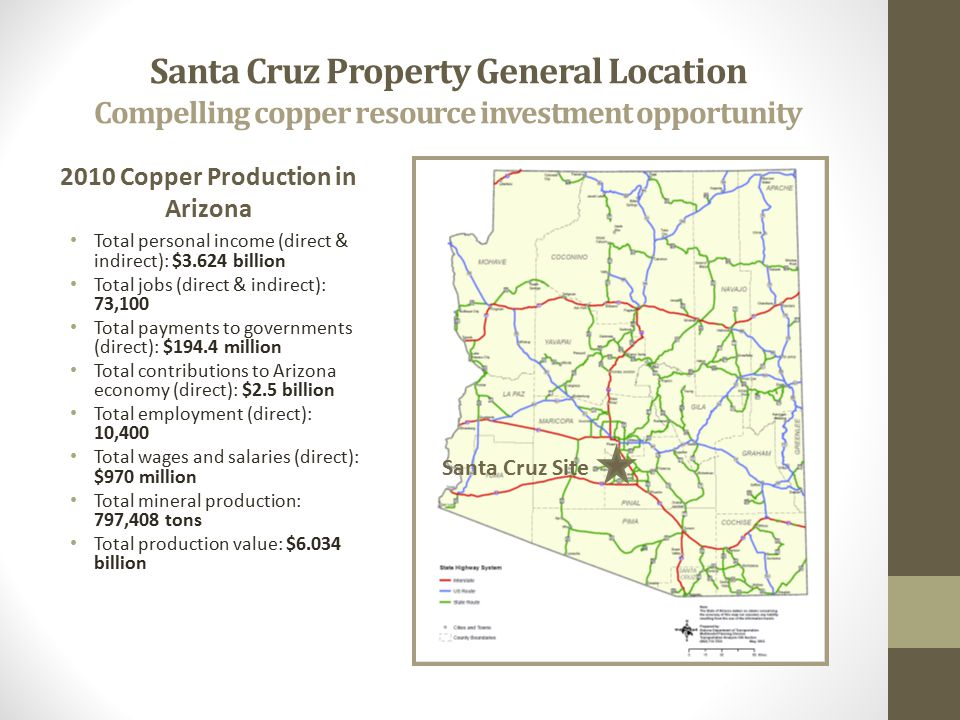Santa Cruz Property General Location Compelling copper resource investment opportunity 2010 Copper Production in Arizona Total personal income (direct & indirect): $3.624 billion Total jobs (direct & indirect): 73,100 Total payments to governments (direct): $194.4 million Total contributions to Arizona economy (direct): $2.5 billion Total employment (direct): 10,400 Total wages and salaries (direct): $970 million Total mineral production: 797,408 tons Total production value: $6.034 billion Santa Cruz Site