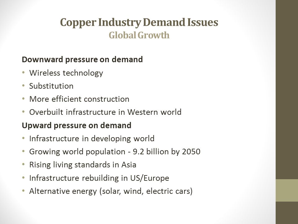 Copper Industry Demand Issues Global Growth Downward pressure on demand Wireless technology Substitution More efficient construction Overbuilt infrastructure in Western world Upward pressure on demand Infrastructure in developing world Growing world population - 9.2 billion by 2050 Rising living standards in Asia Infrastructure rebuilding in US/Europe Alternative energy (solar, wind, electric cars)