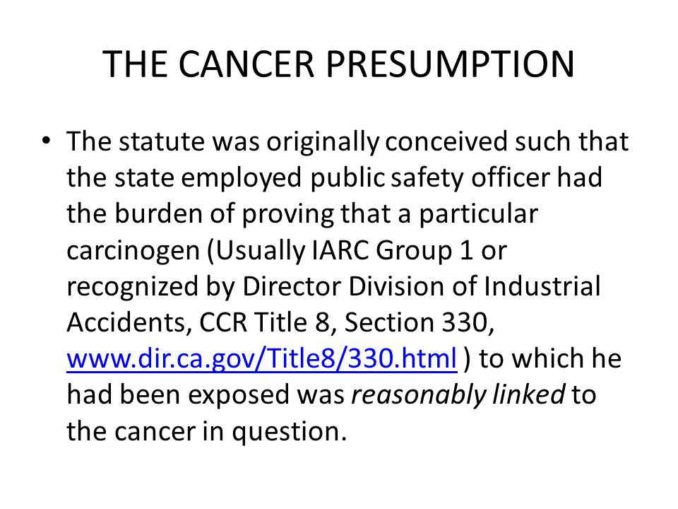 NEW SECTION 3212.1 (d) The cancer so developing or manifesting itself in these cases shall be presumed to arise out of and in the course of the employment.