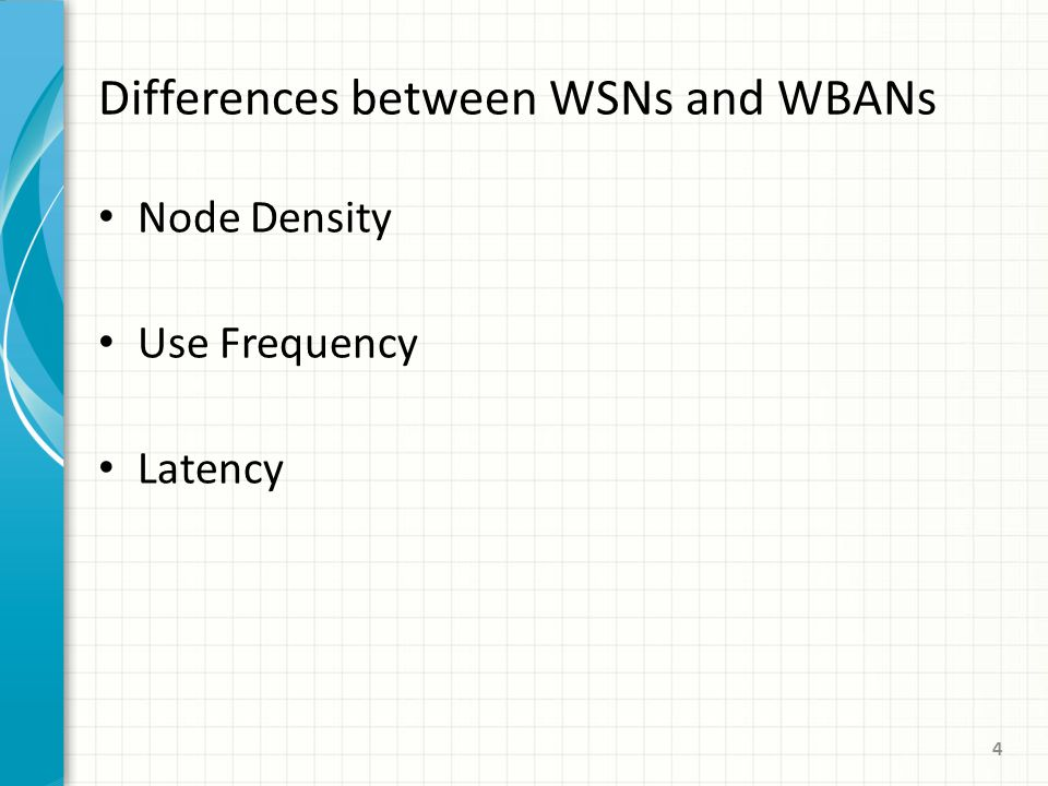Node Density Use Frequency Latency 4