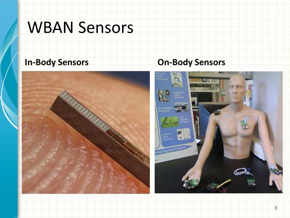 WBAN Sensors In-Body SensorsOn-Body Sensors 6