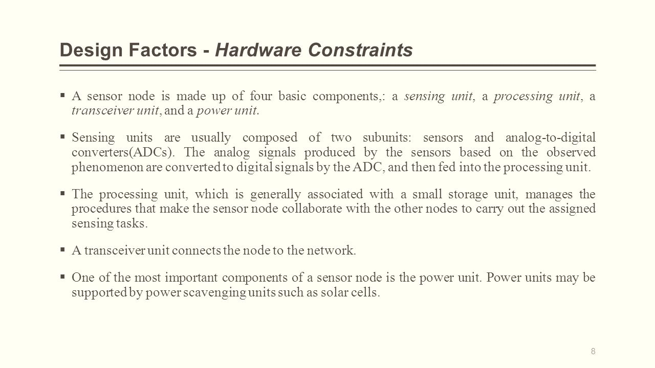 Design Factors - Hardware Constraints  A sensor node is made up of four basic components,: a sensing unit, a processing unit, a transceiver unit, and a power unit.