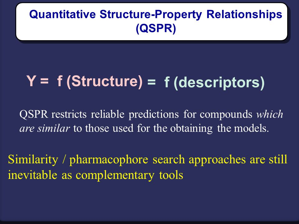 Quantitative Structure-Property Relationships (QSPR) Y = f (Structure) = f (descriptors) QSPR restricts reliable predictions for compounds which are s