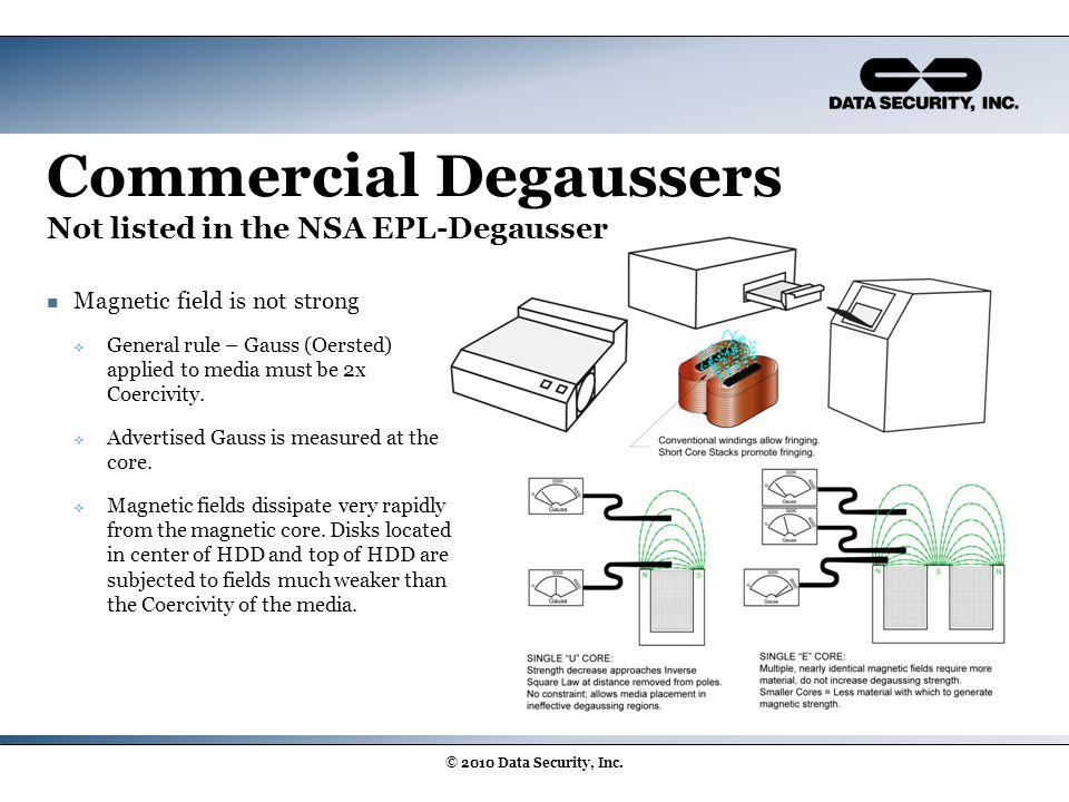 Commercial Degaussers Not listed in the NSA EPL-Degausser Magnetic field is not strong  General rule – Gauss (Oersted) applied to media must be 2x Co