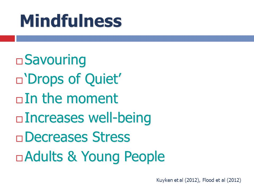 Mindfulness  Savouring  'Drops of Quiet'  In the moment  Increases well-being  Decreases Stress  Adults & Young People Kuyken et al (2012), Floo