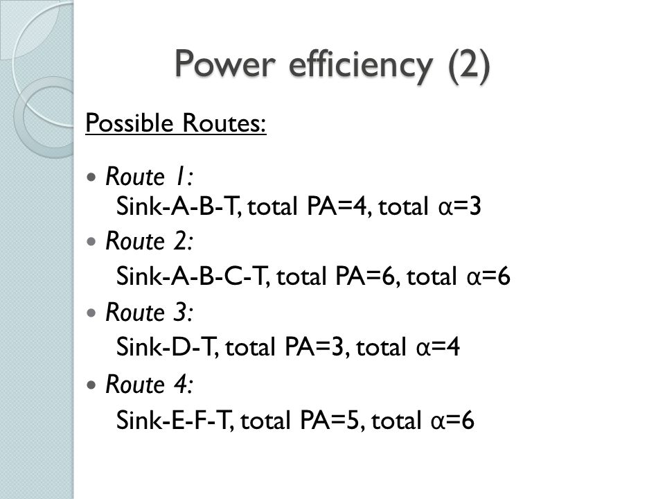 Power efficiency (3) How to find the Energy-Efficient Route: Maximum available power (PA) route Minimum energy (ME) route ( α ) Minimum hop (MH) route Maximum minimum PA node route
