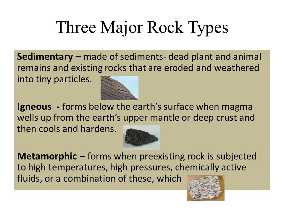 Three Major Rock Types Sedimentary – made of sediments- dead plant and animal remains and existing rocks that are eroded and weathered into tiny parti